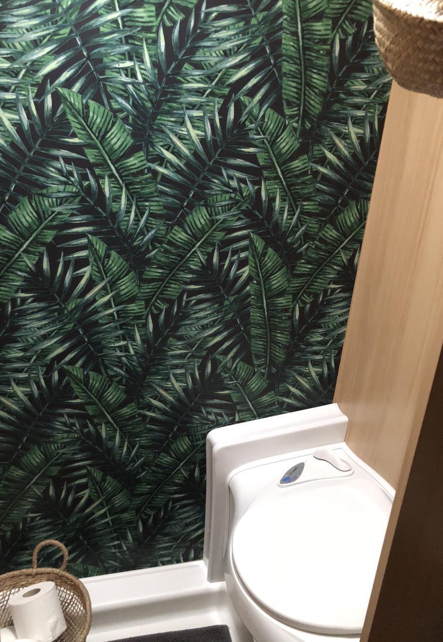 Toilettenbereich im LMC Wohnwagen mit Fahn Tapete an der Wand