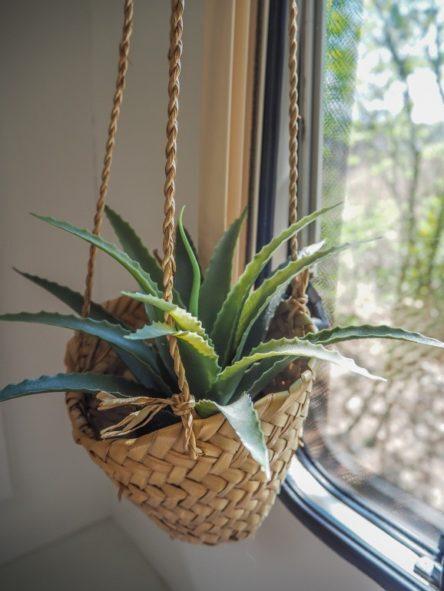 Ethno Deko Pflanze im Wohnwagen mit Bast Korb