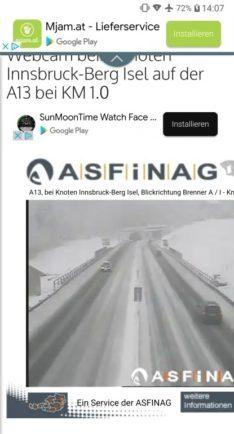 Screenshot von ASFiNAG der Brenner Autobahn Webcam bei Schneefall - Rückreise verschoben