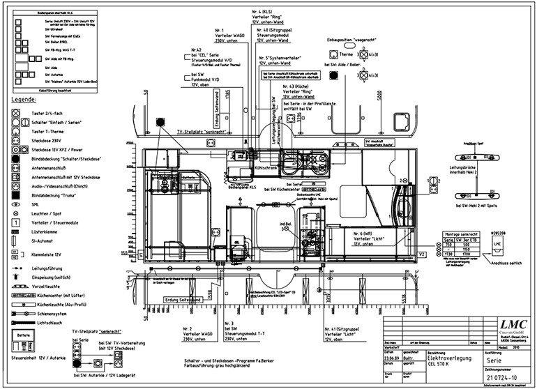 technische Zeichnung - Stromplan vom Wohnwagen mit allen Erklärungen