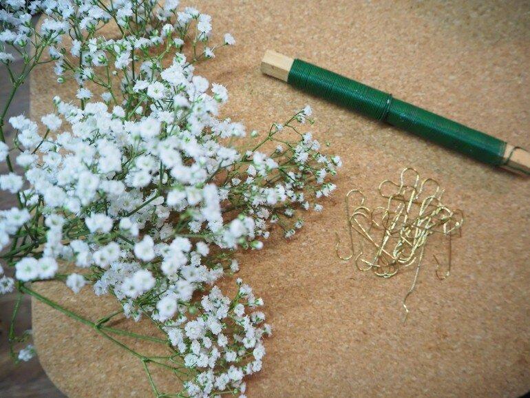 schleierkraut DIY Kranz vorbereitung