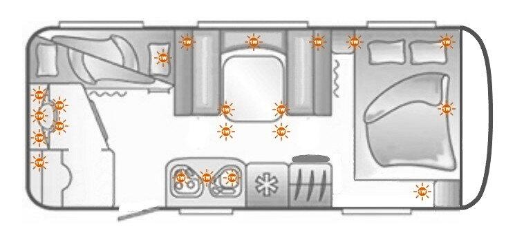 Einbauplan der LED Lichter in den Wohnwagen - Skizze