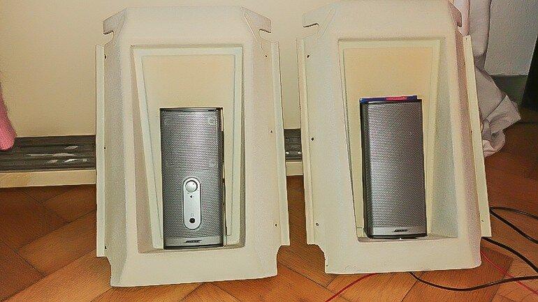 Verkleidung der Wohnwagen Hängechränke mit Bose 12V Aktiv Boxen eingebaut