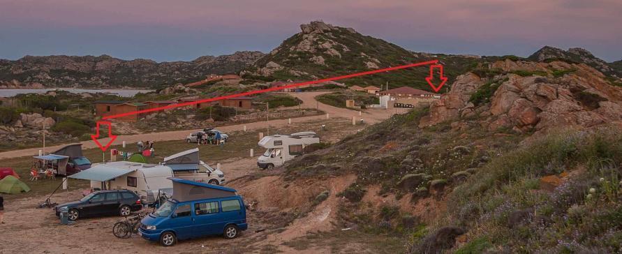 WiFi für Camping nachrüsten - Foto mit eingezeichneter Entfernung zur WLAN Basisstation von der Rezeption auf einem Campingplatz