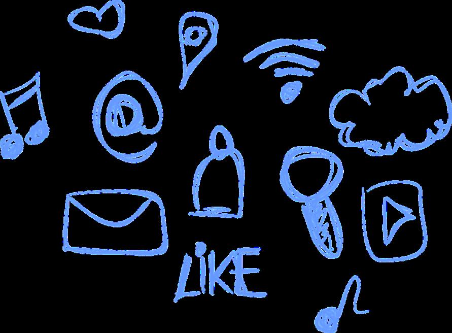Zeichnung mit Symbolen fürWifi, E-Mail, Social, Pins, Places, Cloud, Play