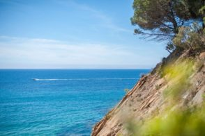 Nähe Saint Tropez - Felsenküste, türkises Wasser und Schnellboot