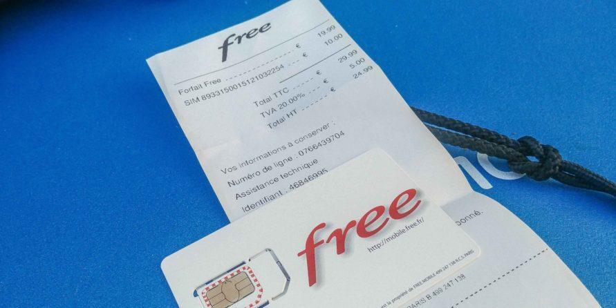 free Mobile Frankreich SIM Karte aus Verkaufsautomaten mit Quittung
