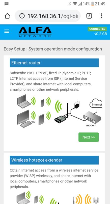 Alfa Network Installation Einrichtung Screen Wlan LTE Router Software