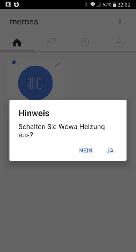 Wohnwagen Heizung fernsteuern mit APP Smart WLAN Plug Steckdose Android Apple auschalten Screen