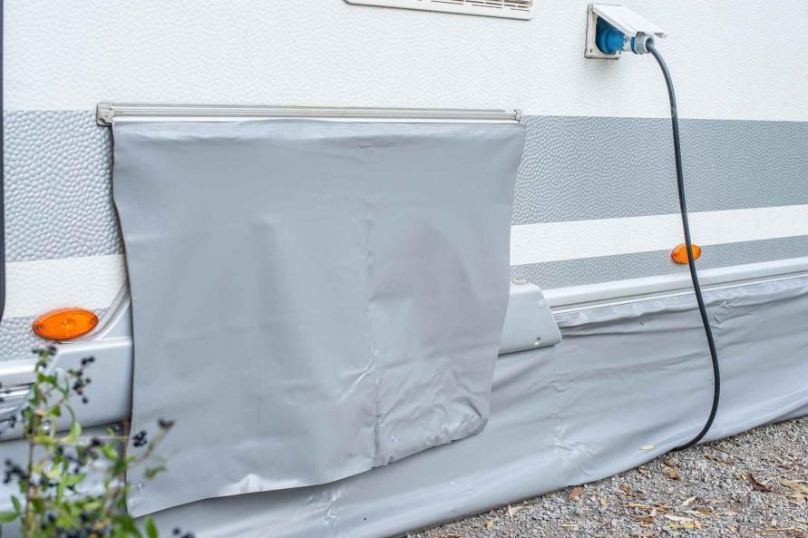 Wintercamping Tipps Wohnwagen Bodenschürze Windschürze Radabdeckung auskühlen Wind