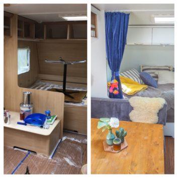 Wohnwagen renovieren Vorher Nachher weiß streichen Pimp your Caravan Camping Glamping mysmallhouse.de