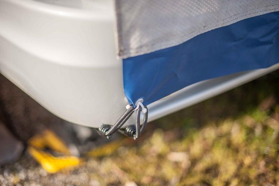 Bugschutzplane Hindermann Wohnwagen nachrüsten Isolierung Einfrieren Gaskasten Abdeckung Kederschiene abspannen