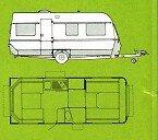 original Fendt Zeichung und Skizze vom Fendt Wohnwagen 495 T Favorit