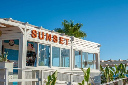 Sunset Bar mit Palmen und blauem Himmel - Hinterland von Salento