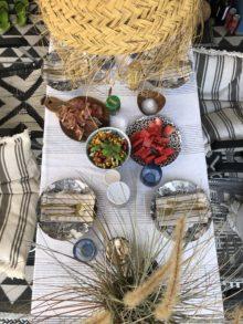 Camping Geschirr Tipps Tisch von oben fotografiert mit Tellern und Essen