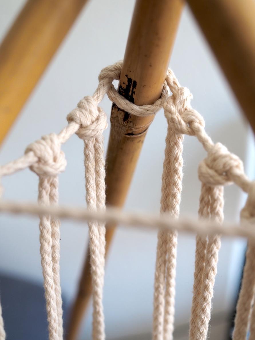 Makramee Tipi Zelt - sechs Makramee Seile werden angeknüpft