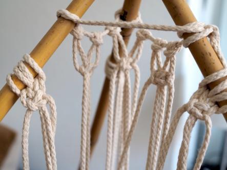 Makramee Tipi Zelt - ersten Knoten, die für das Tipi Zelt geknotet werden